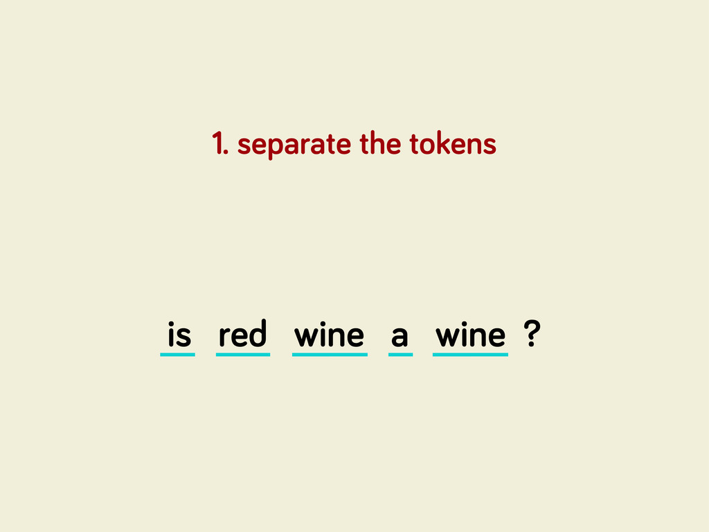 is red wine a wine ? 1. separate the tokens