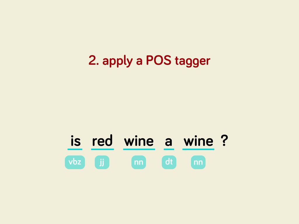 is red wine a wine ? 2. apply a POS ta er vbz j...