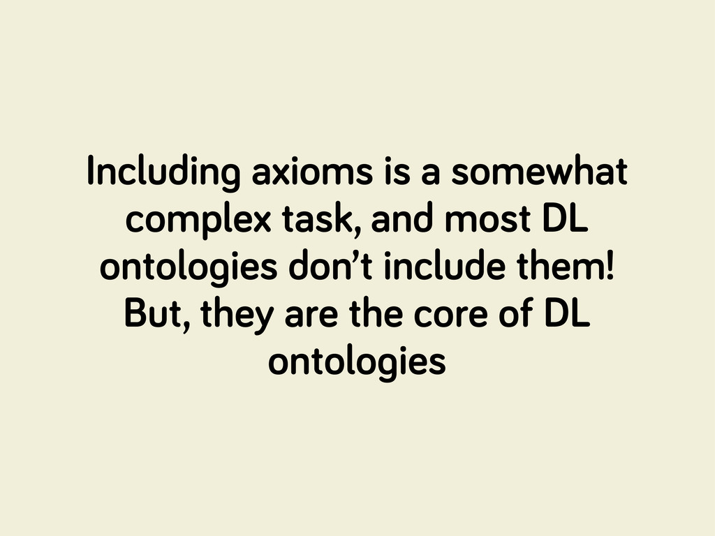 Includin axioms is a somewhat complex task, and...