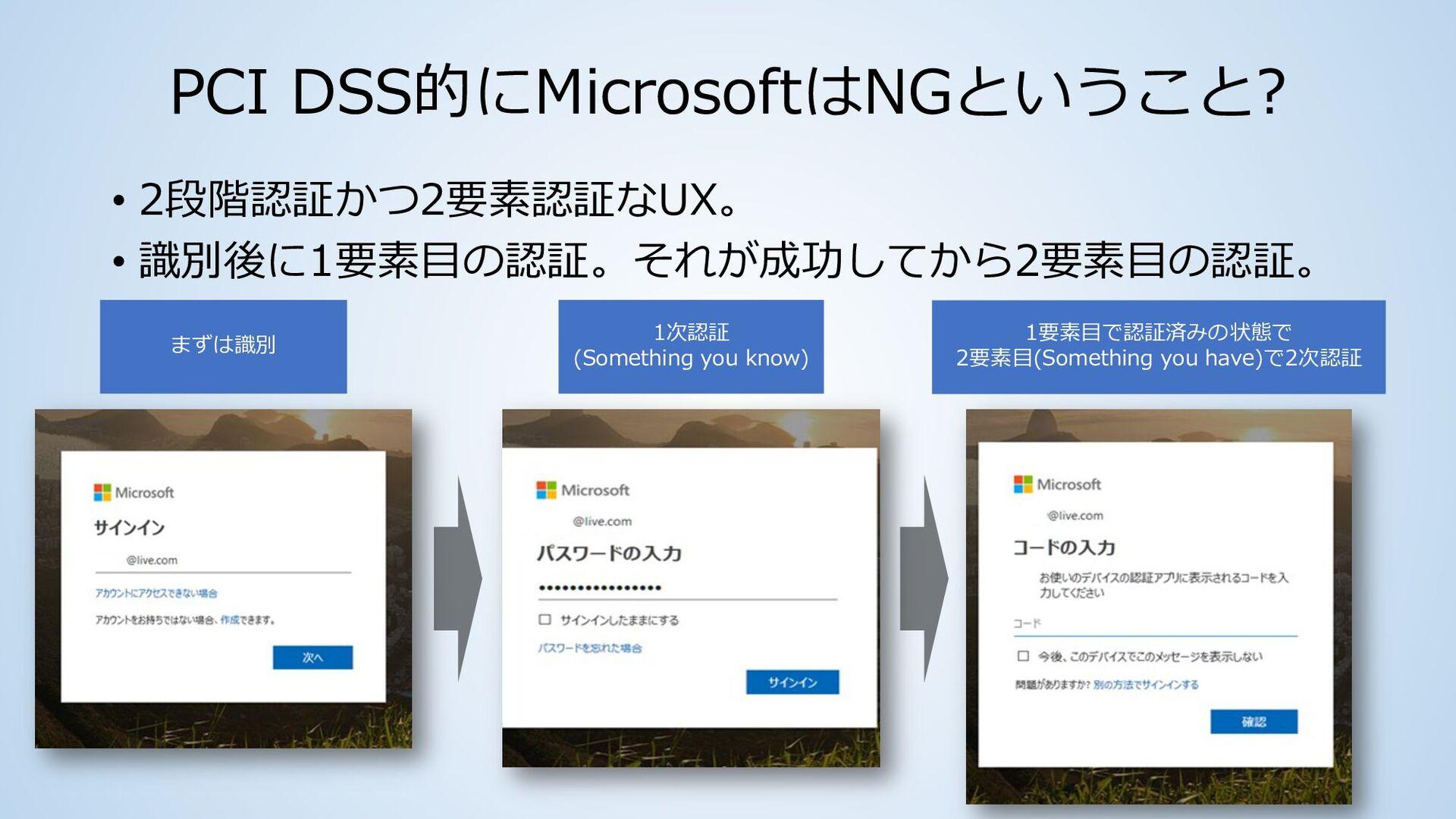 GoogleはNGということ? • 2段階認証かつ2要素認証なUX。 • 識別後に1要素目の認...