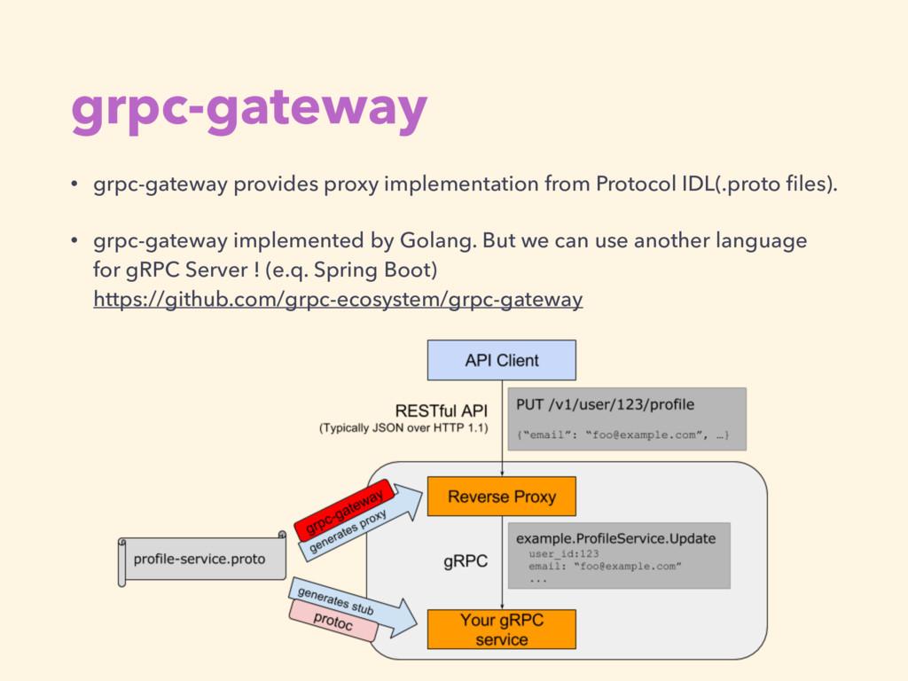 grpc-gateway • grpc-gateway provides proxy impl...