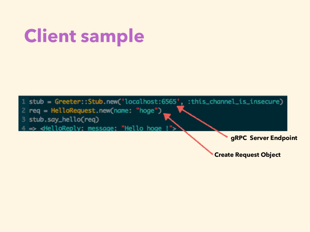 Client sample gRPC Server Endpoint Create Reque...