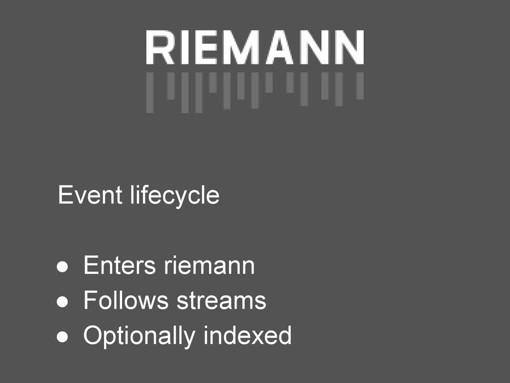 Event lifecycle ● Enters riemann ● Follows stre...