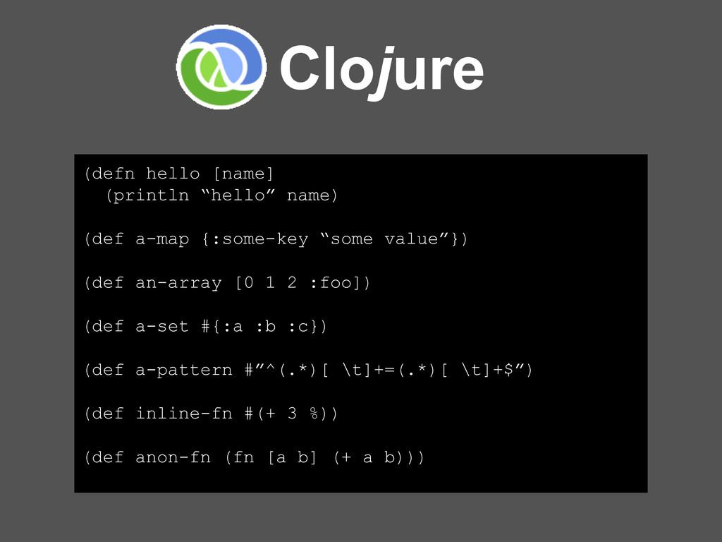 "Clojure (defn hello [name] (println ""hello"" nam..."
