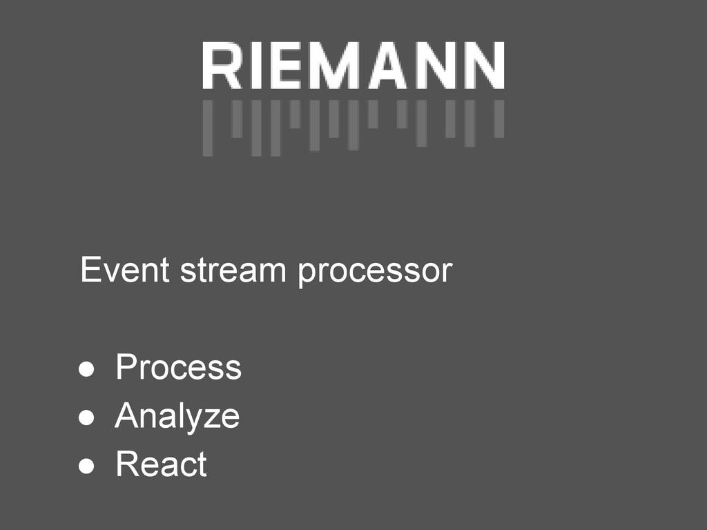 Event stream processor ● Process ● Analyze ● Re...