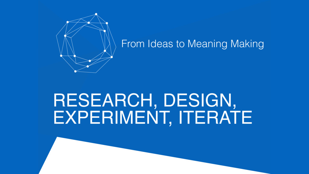 RESEARCH, DESIGN, EXPERIMENT, ITERATE From Idea...