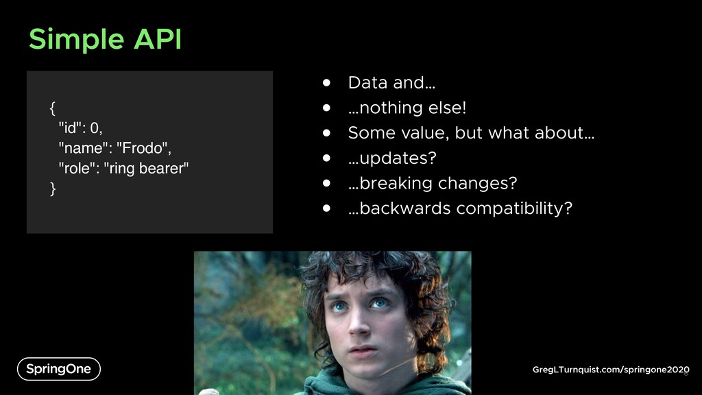 """GregLTurnquist.com/springone2020 Simple API { """"..."""