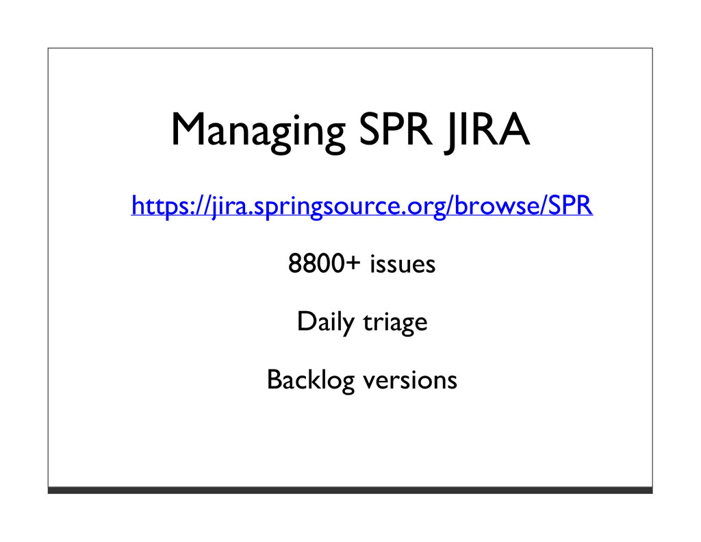 Managing SPR JIRA https://jira.springsource.org...