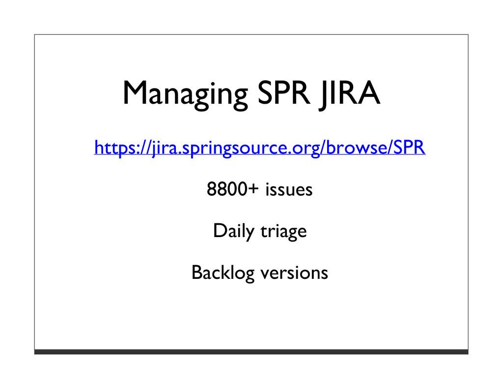 Managing SPR JIRA https://jira.springsource.org...