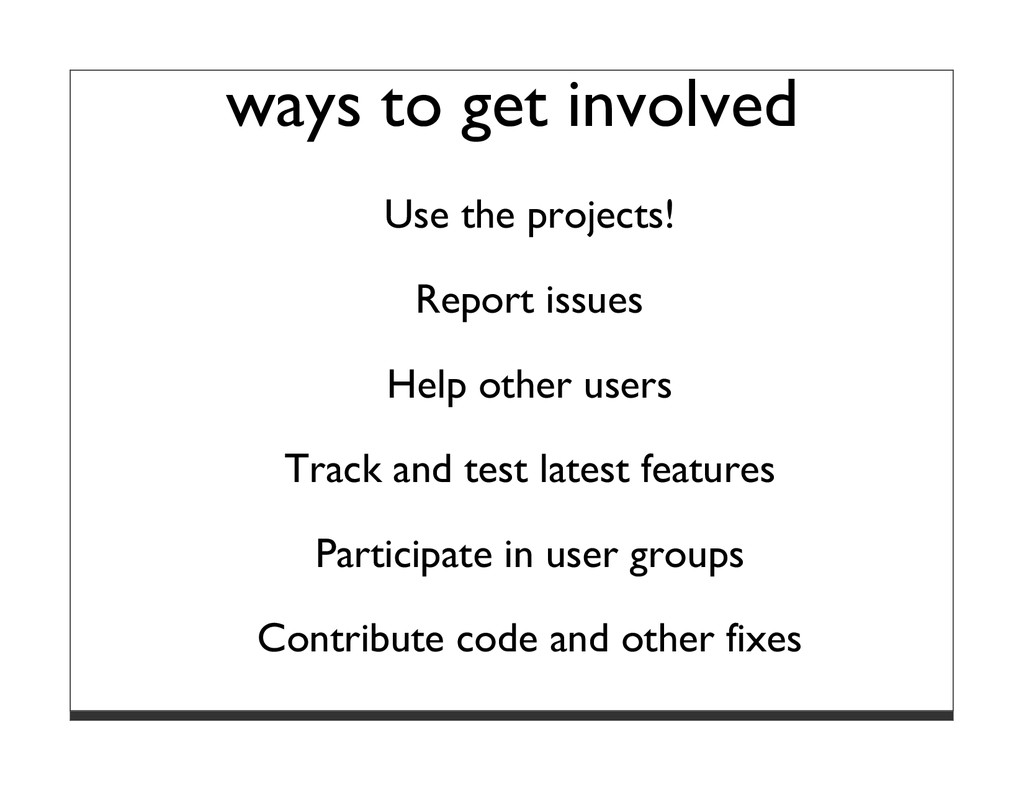ways to get involved Use the projects! Report i...