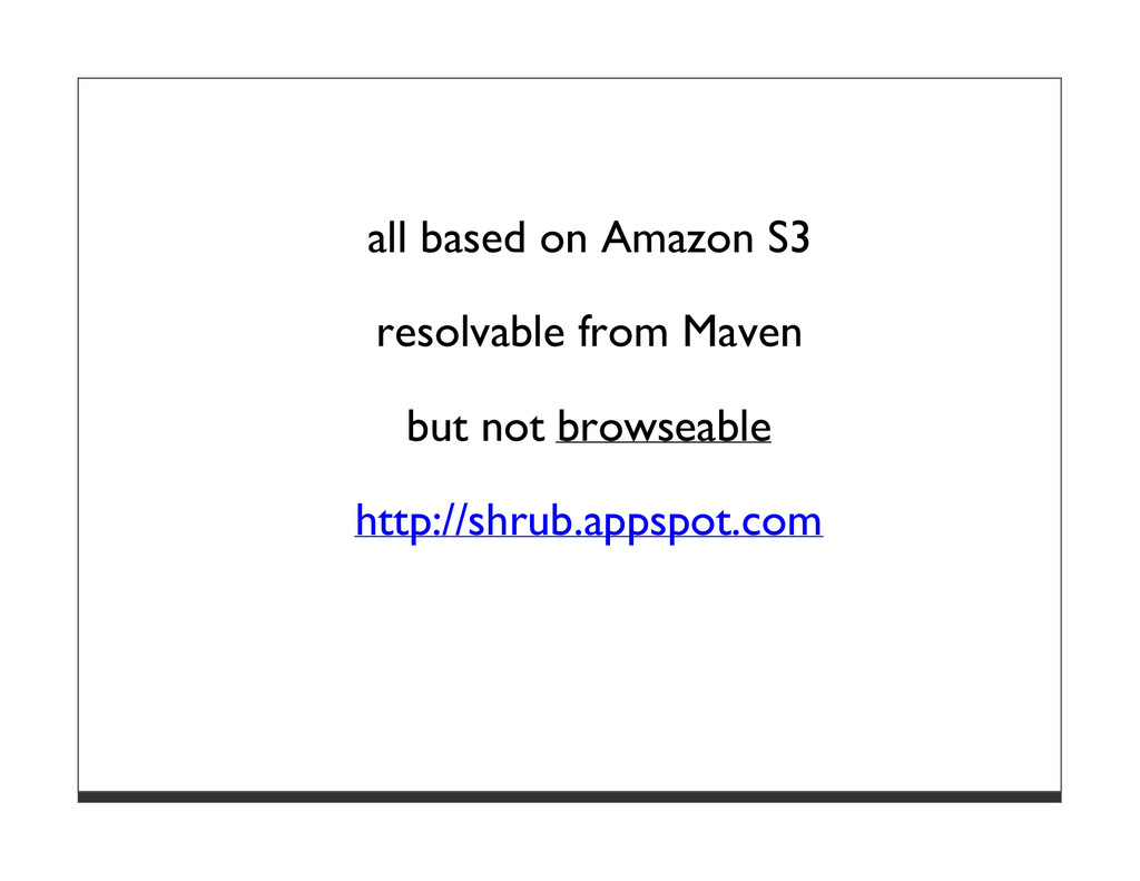 all based on Amazon S3 resolvable from Maven bu...