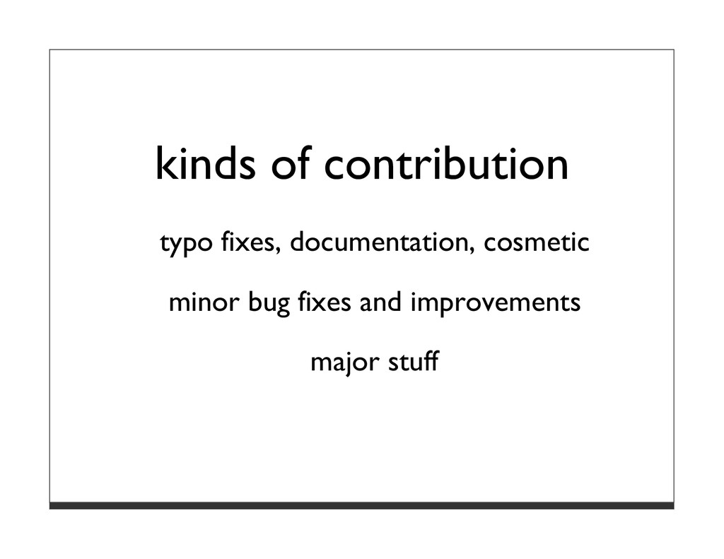kinds of contribution typo fixes, documentation...