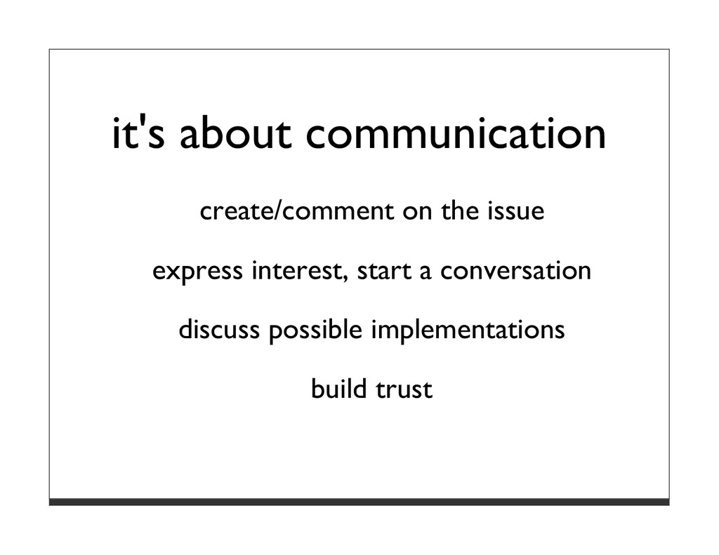 it's about communication create/comment on the ...