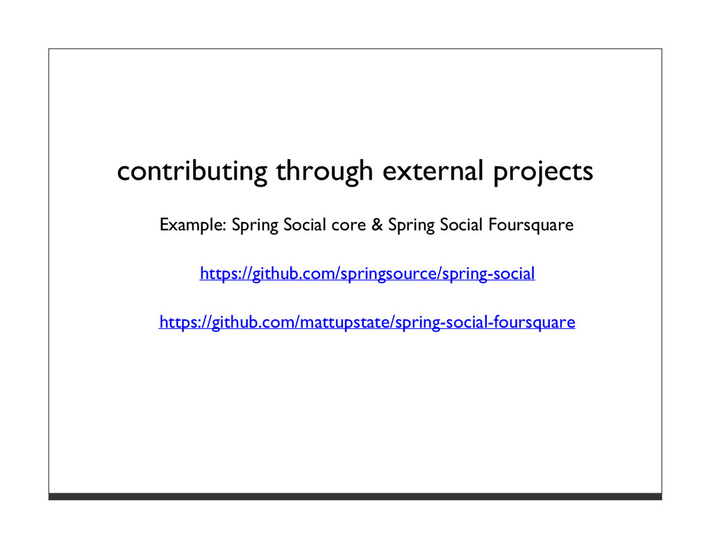 contributing through external projects Example:...