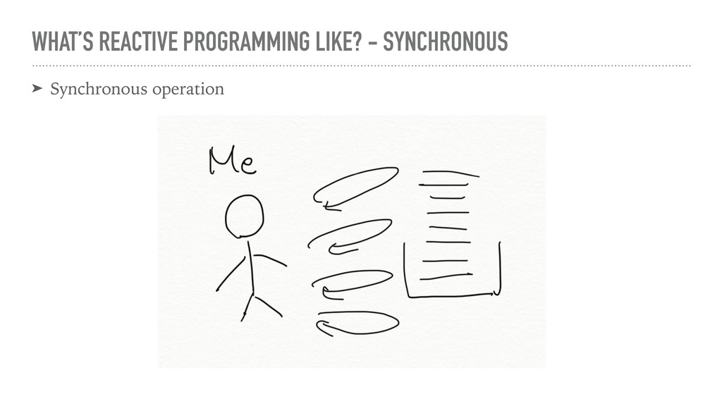 WHAT'S REACTIVE PROGRAMMING LIKE? - SYNCHRONOUS...