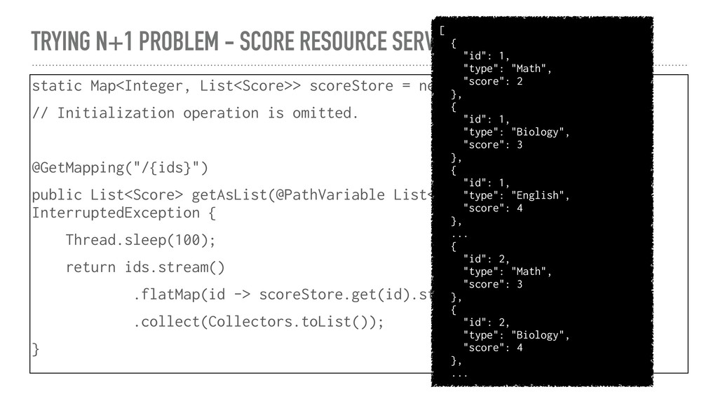 TRYING N+1 PROBLEM - SCORE RESOURCE SERVICE sta...