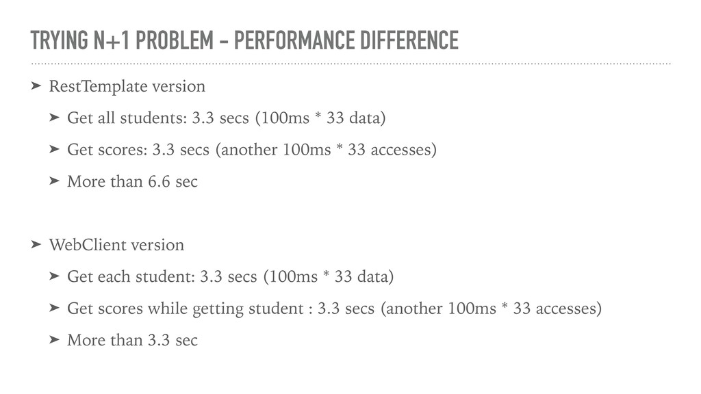 TRYING N+1 PROBLEM - PERFORMANCE DIFFERENCE ➤ R...