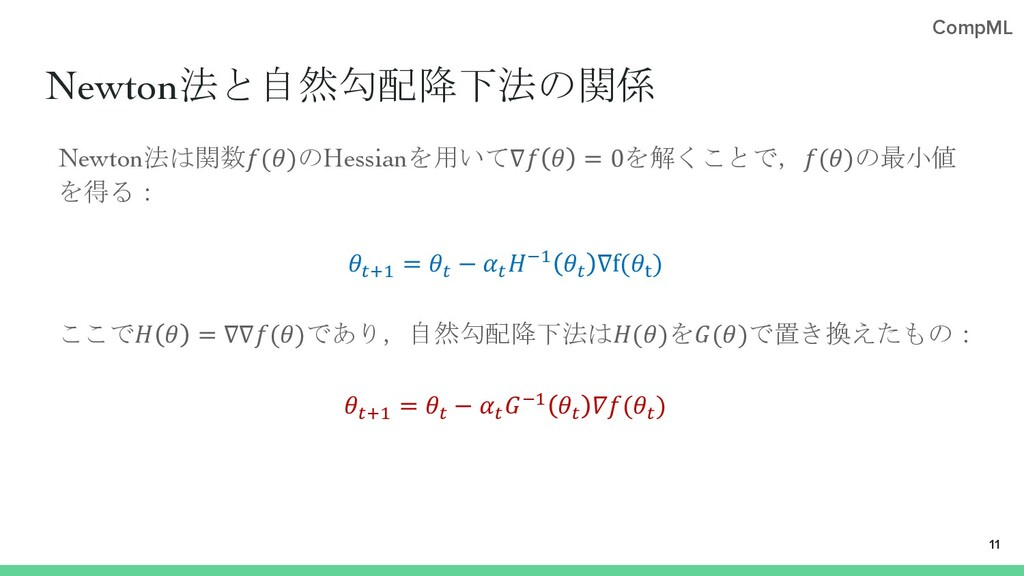 CompML Newton法と自然勾配降下法の関係 Newton法は関数()のHessianを...