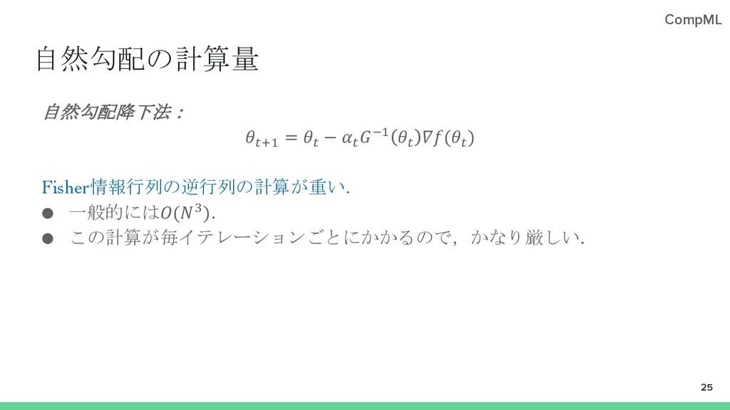 """CompML 自然勾配の計算量 自然勾配降下法: !""""# = ! − ! $# ! (! ) ..."""