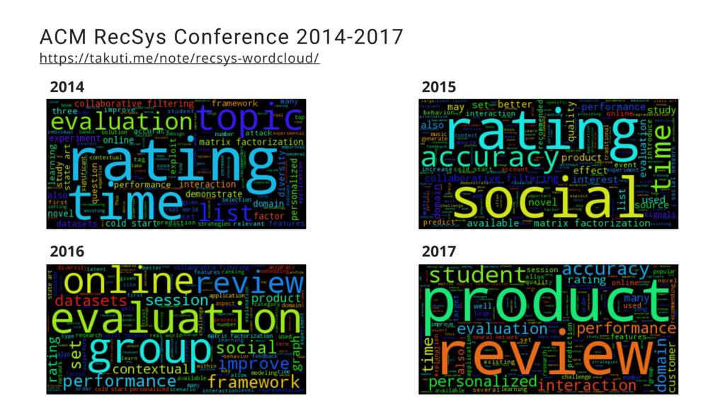 ACM RecSys Conference 2014-2017 https://takuti....