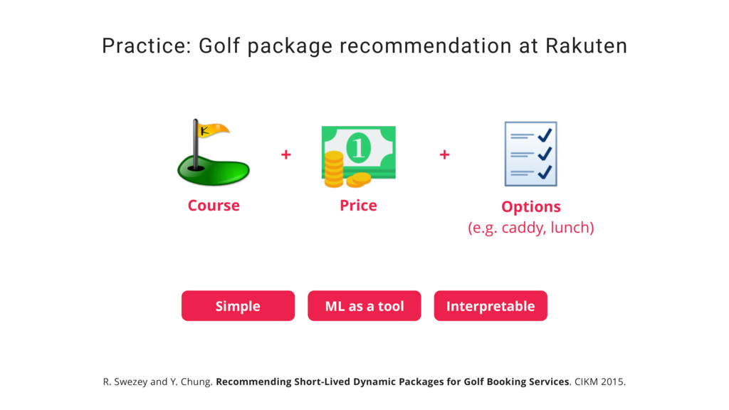 Practice: Golf package recommendation at Rakute...