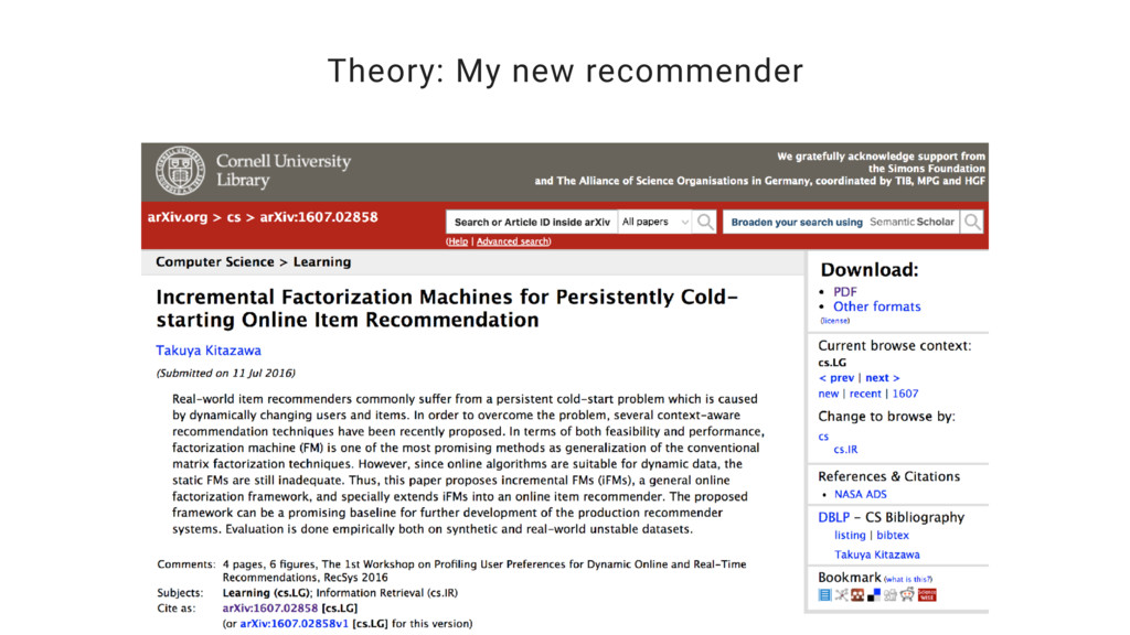 Theory: My new recommender