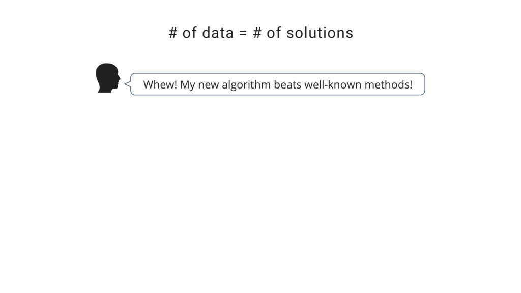 # of data = # of solutions Whew! My new algorit...