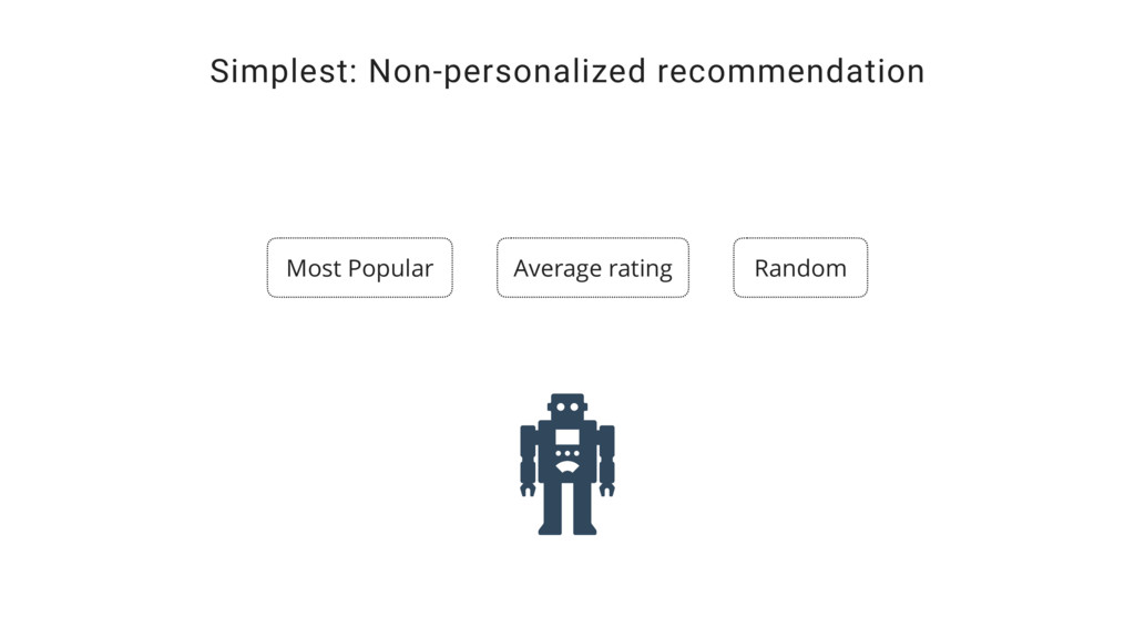 Simplest: Non-personalized recommendation Most ...