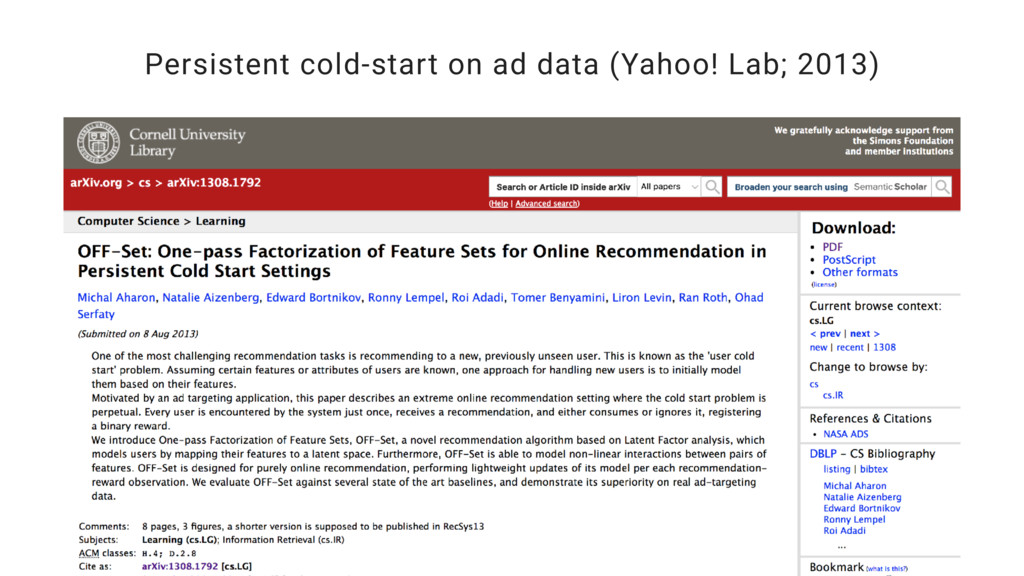 Persistent cold-start on ad data (Yahoo! Lab; 2...