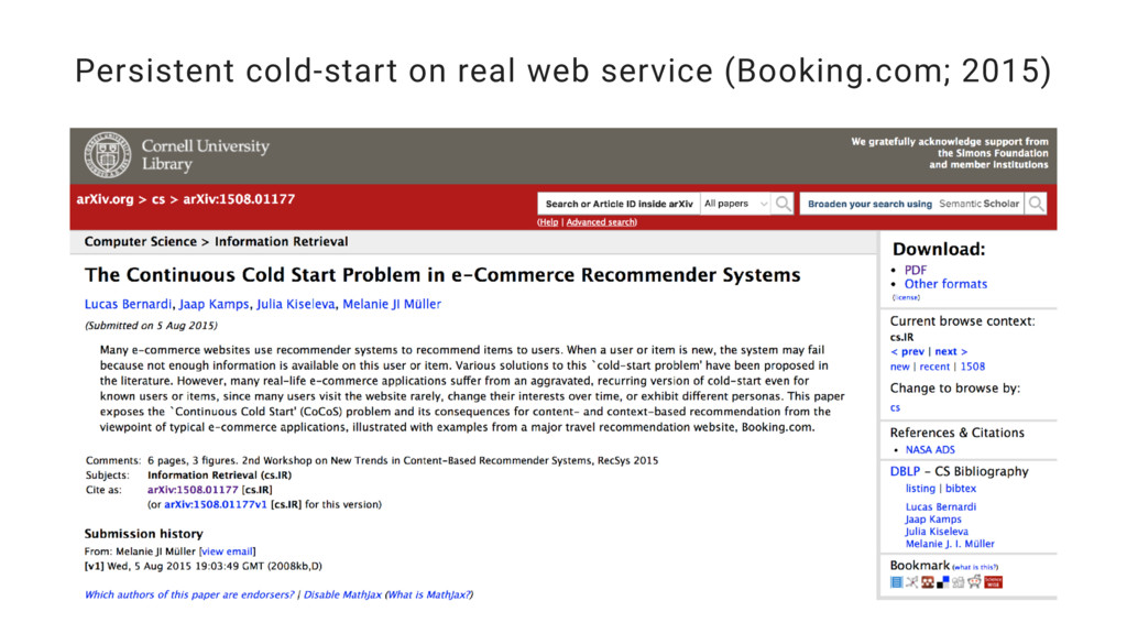 Persistent cold-start on real web service (Book...