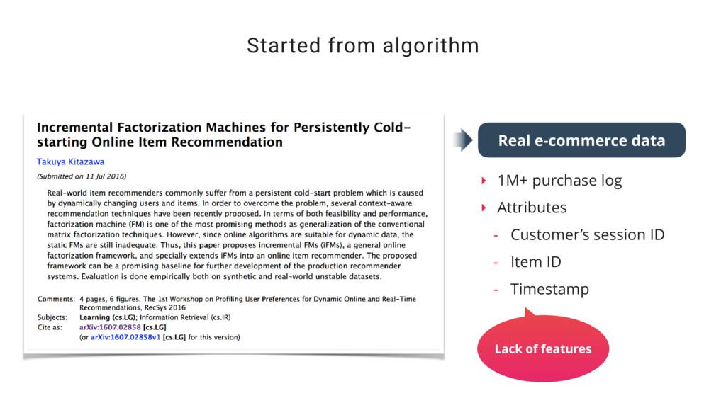 ‣ 1M+ purchase log ‣ Attributes - Customer's se...