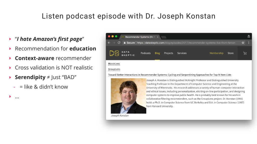 Listen podcast episode with Dr. Joseph Konstan ...