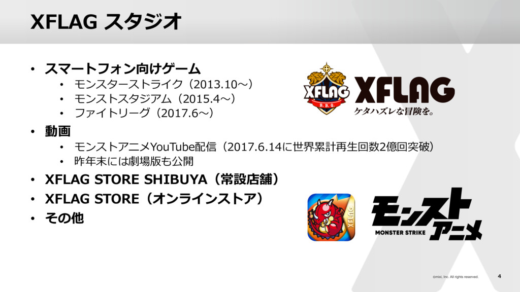 4 XFLAG スタジオ • スマートフォン向けゲーム • モンスターストライク(2013.1...