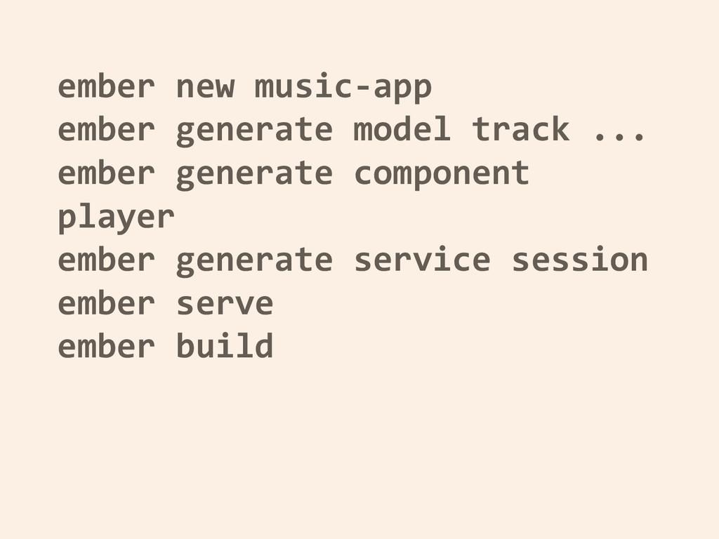 ember new music-app ember generate model track ...