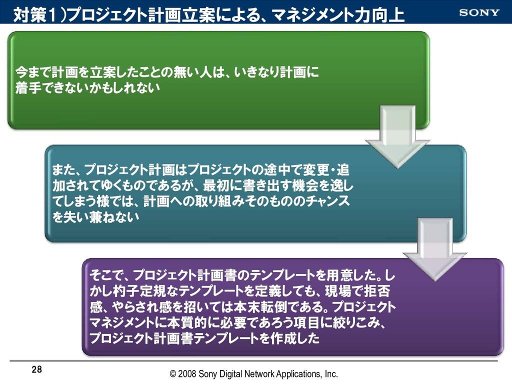対策1)プロジェクト計画立案による、マネジメント力向上 今まで計画を立案したことの無い人は、い...