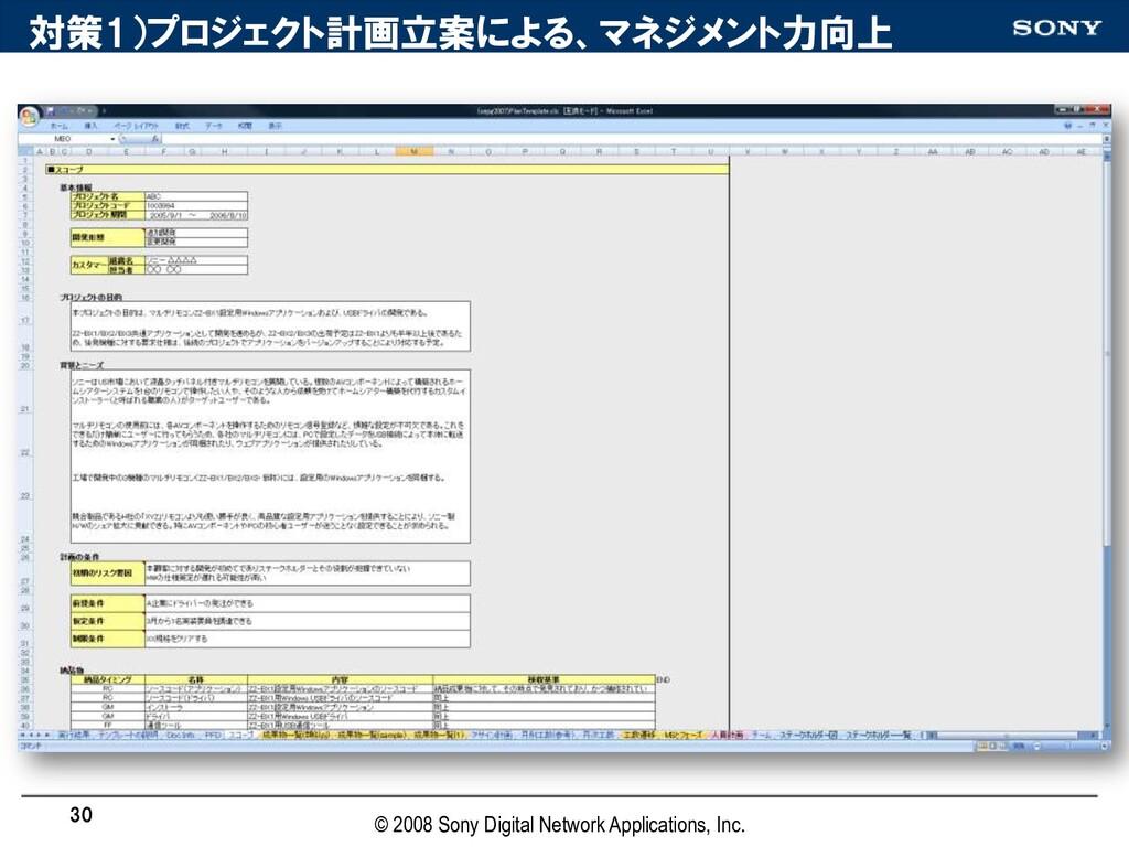対策1)プロジェクト計画立案による、マネジメント力向上 30 © 2008 Sony Digi...