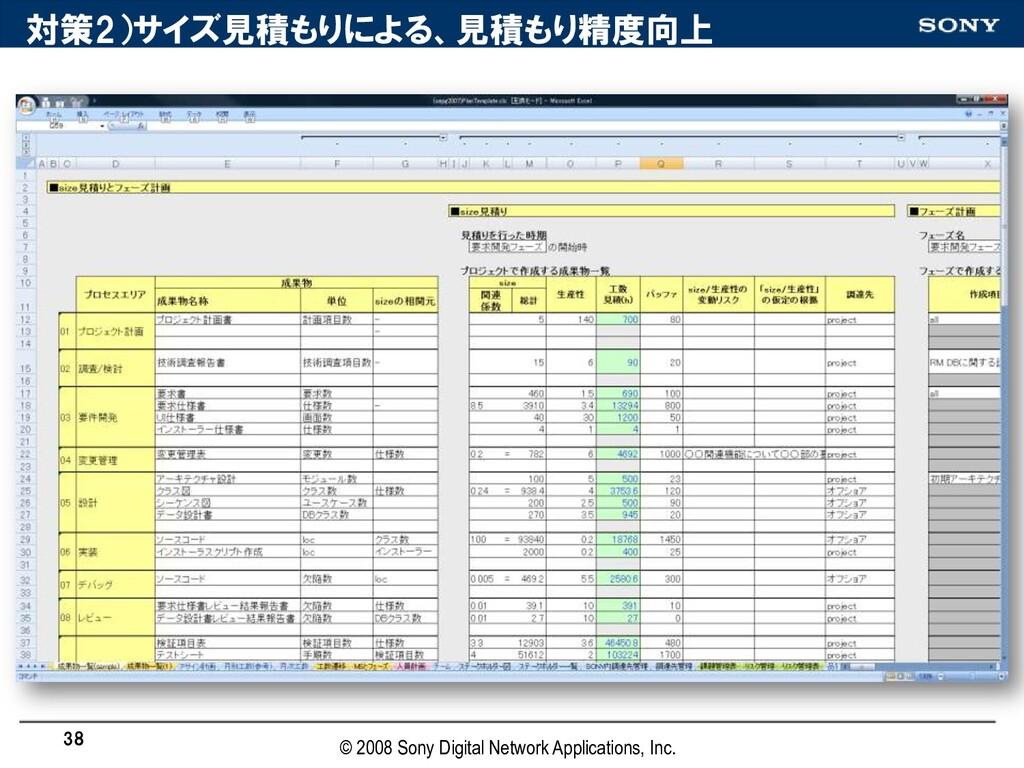 対策2)サイズ見積もりによる、見積もり精度向上 38 © 2008 Sony Digital ...