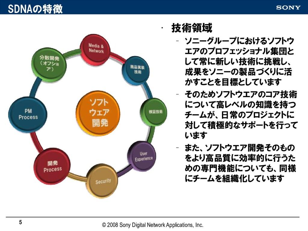 SDNAの特徴 • 技術領域 – ソニーグループにおけるソフトウ エアのプロフェッショナル集団...
