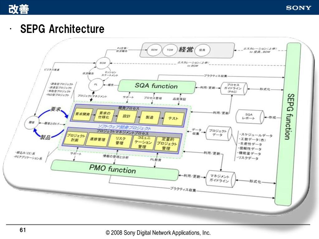 改善 • SEPG Architecture 61 © 2008 Sony Digital N...