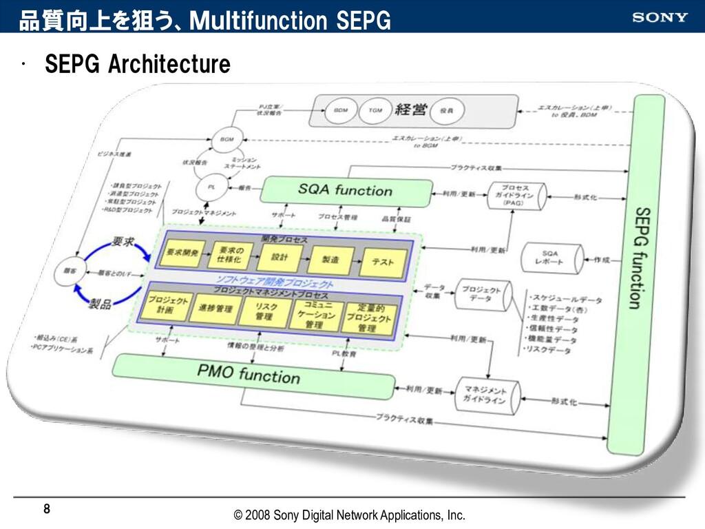 品質向上を狙う、Multifunction SEPG • SEPG Architecture ...