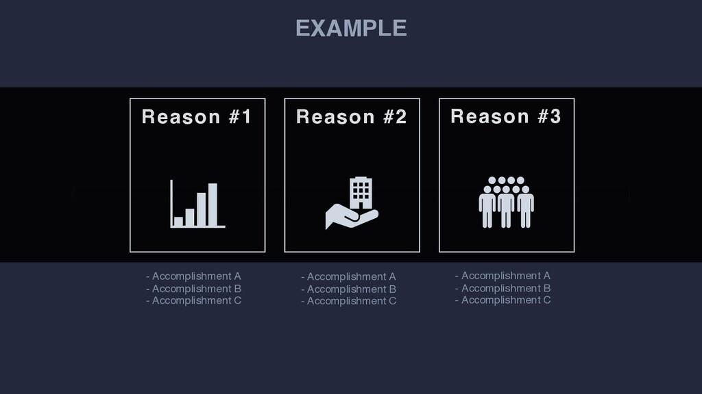 EXAMPLE Reason #1 Reason #2 Reason #3 - Accompl...