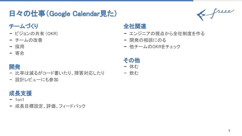 日々の仕事(Google Calendar見た) 9 チームづくり - ビジョンの共有 (...