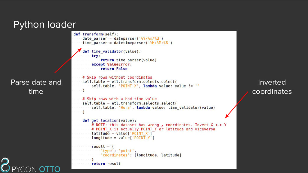 Python loader Parse date and time Inverted coor...