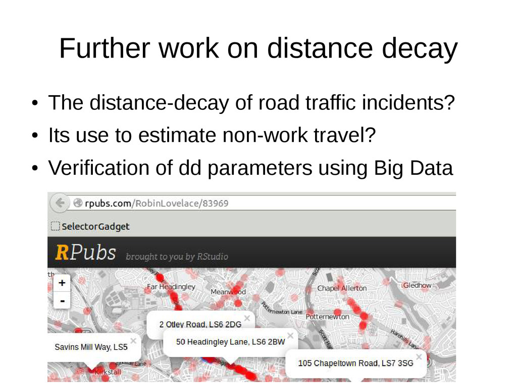 Further work on distance decay ● The distance-d...