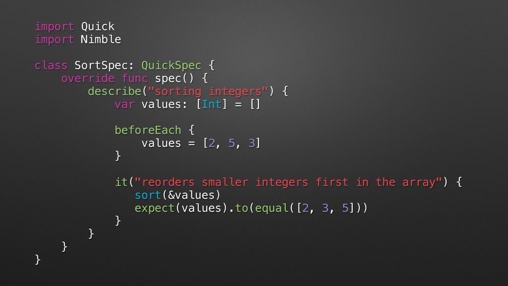 import Quick import Nimble class SortSpec: Quic...