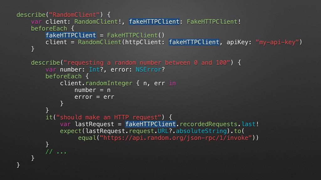 """describe(""""RandomClient"""") { var client: RandomCl..."""
