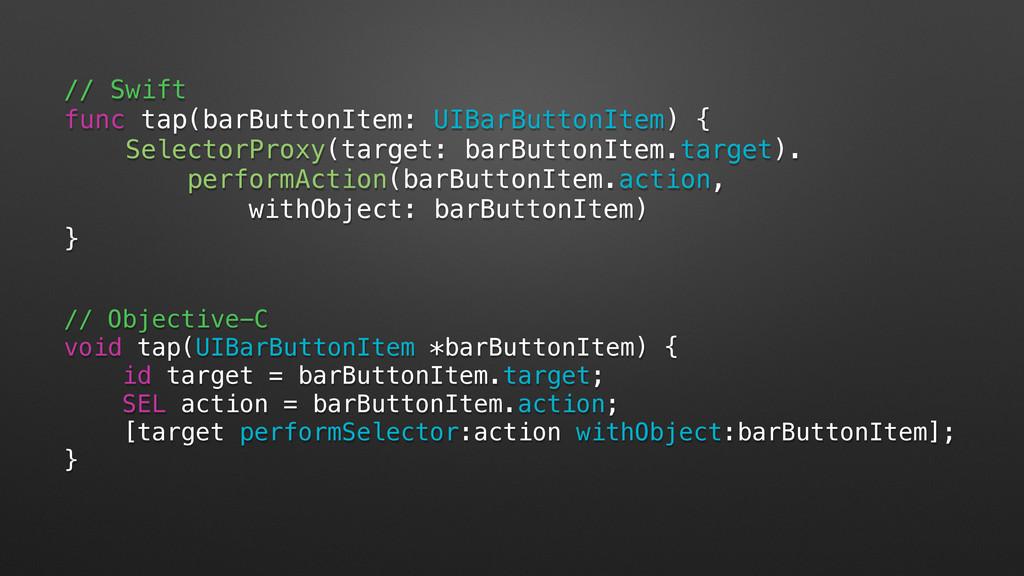 // Objective-C void tap(UIBarButtonItem *barBut...