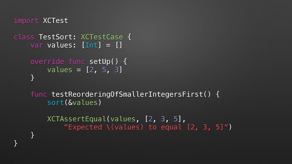 import XCTest class TestSort: XCTestCase { var ...
