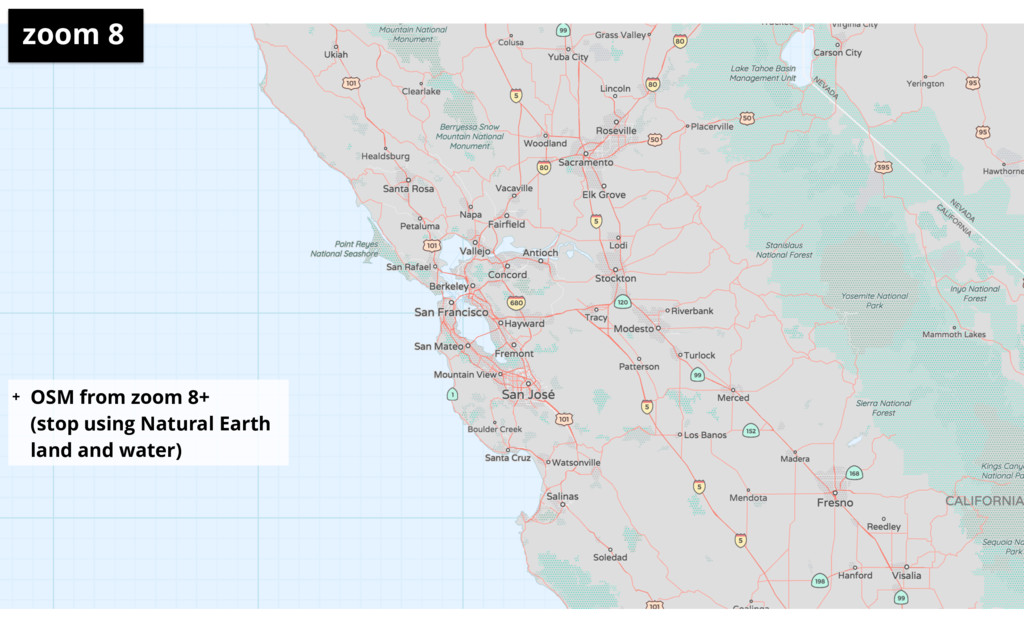 + OSM from zoom 8+ (stop using Natural Earth l...