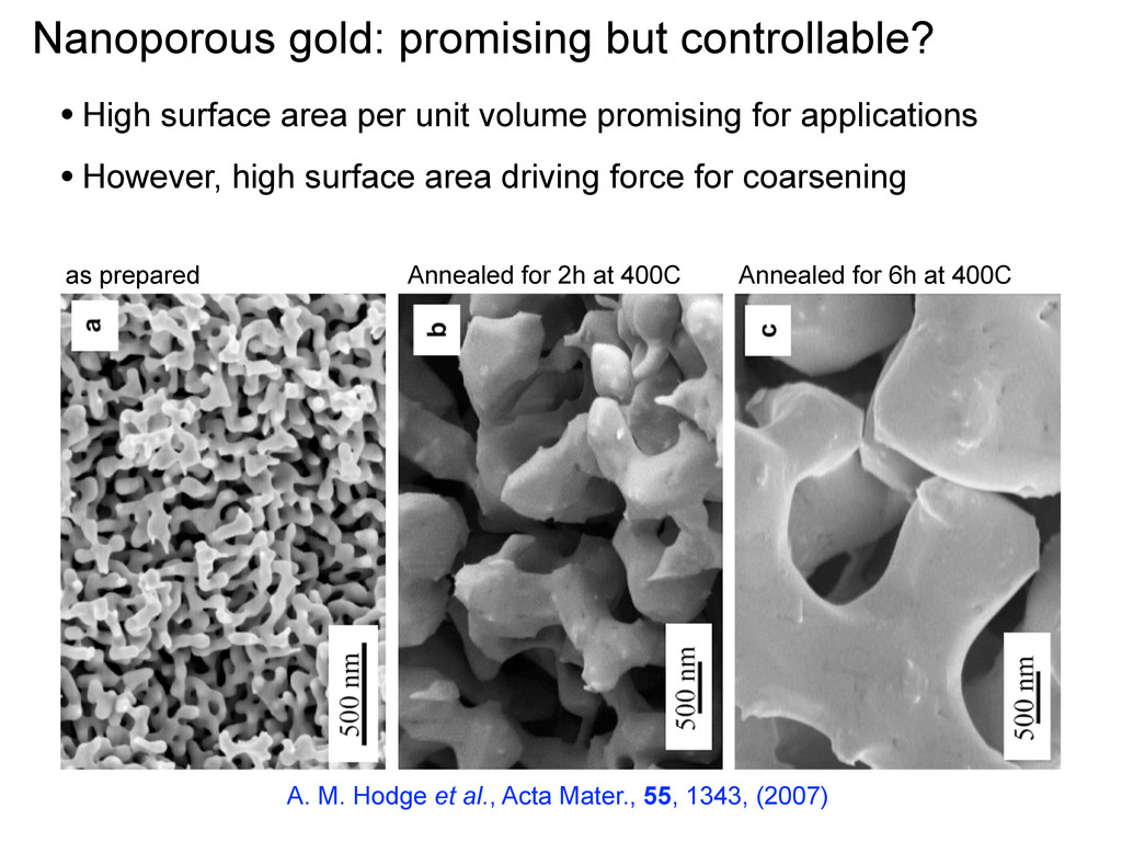 Nanoporous gold: promising but controllable? as...